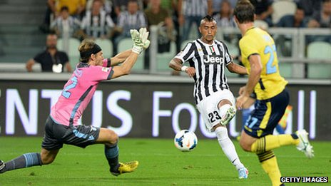 Arturo Vidal scores for Juventus during this season's Serie A match against Lazio