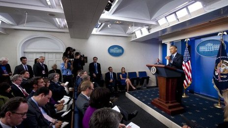 President Obama speaks during an October 8 press conference.