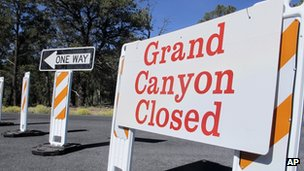 "A sign saying ""Grand Canyon Closed"" as seen on 3 October 2013"