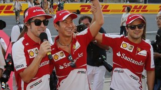 Fernando Alonso, Kamui Kobayashi and Felipe Massa