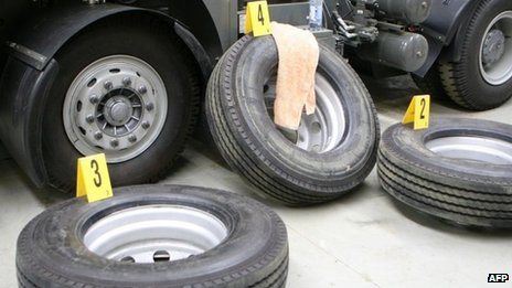 An undated handout photo received on 11 October 2013 show tyres which contained methamphetamine with a street value of A$200m ($190m, £125m), which arrived in Melbourne on a truck from China