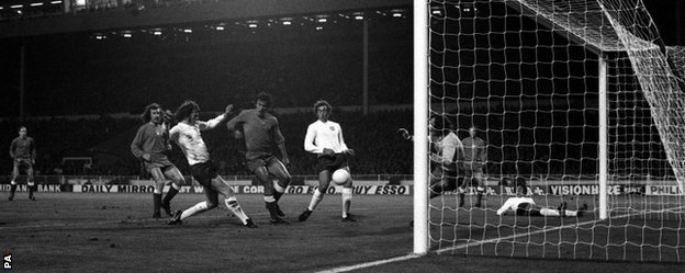 Mick Channon hits the post from close range with Tomaszewski beaten