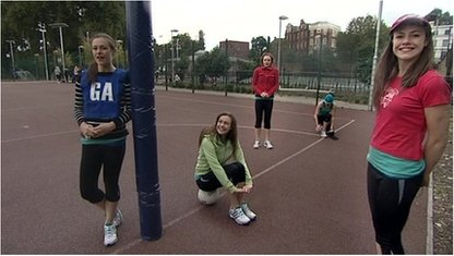 Several images of Isabel Hardman on the netball court