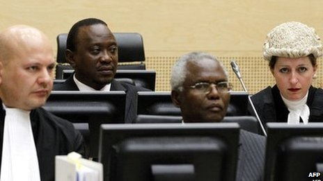 Uhuru Kenyatta (back row), at the International Criminal Court in The Hague on 8 April 2011