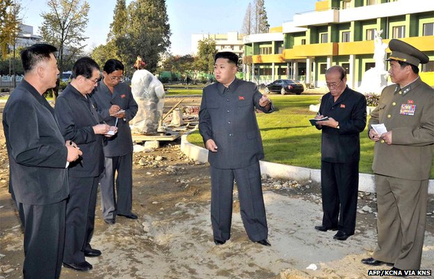 Picture released by North Koreas official Korean Central News Agency (KCNA) on 6 October purporting to show North Korean leader Kim Jong-un, centre, inspecting the construction site of a children's hospital in Pyongyang.