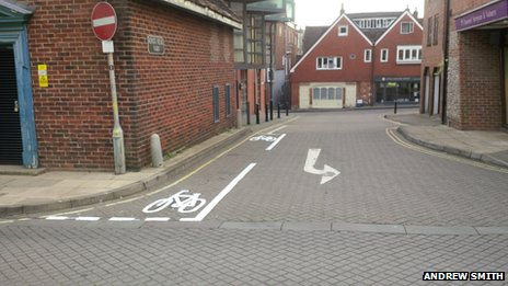 Cycle lane in Winchester