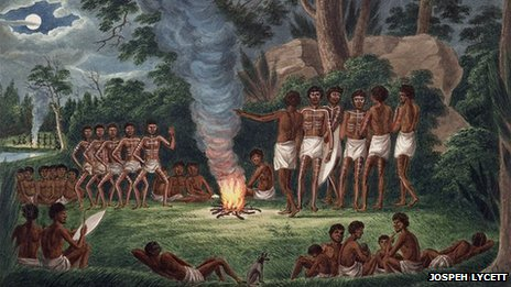 Corroboree around a camp fire