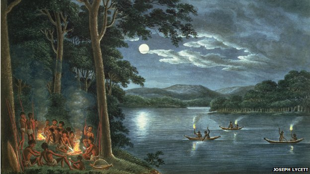 Aborigines fishing by torchlight