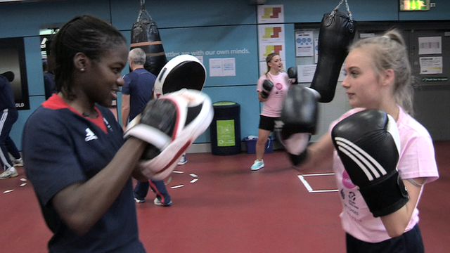 Nicola Adams with the Us Girls group