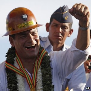 Rafael Correa during visit to Boliva, 3 Oct 13