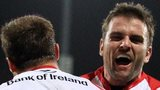 Ulster's Tommy Bowe is congratulated by Jared Payne