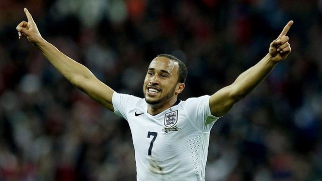 Andros Townsend celebrates scoring on his England debut