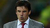 Wales manager Chris Coleman pulls a face as he watches his team in action against Macedonia in Cardiff