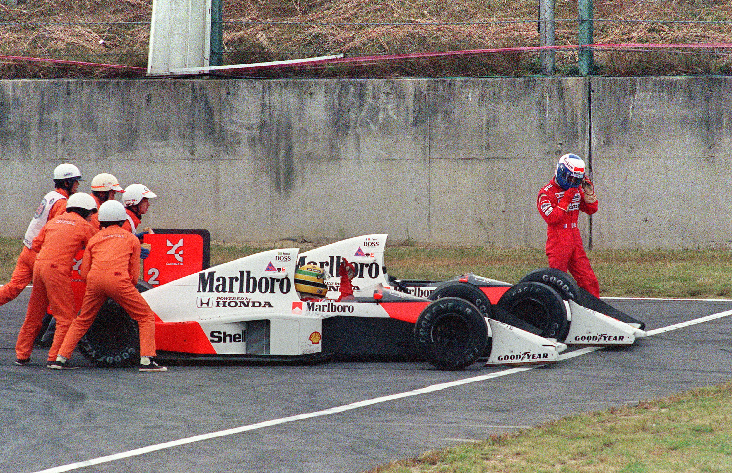 Ayrton Senna and Alain Prost collide at the Casio Triangle chicane in 1989