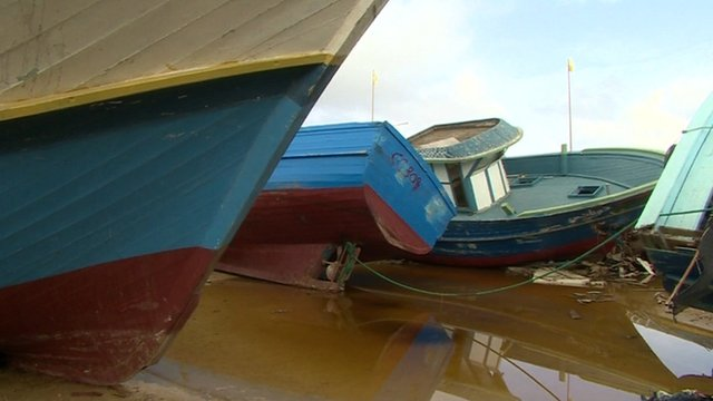Boats that carried refugees to Lampedusa