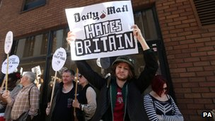 Protesters outside Daily Mail office