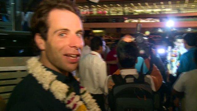 Mark Beaumont arrives in New Delhi
