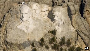 This April 22, 2008, file photo, shows the Mount Rushmore National Memorial in the Black Hills of South Dakota