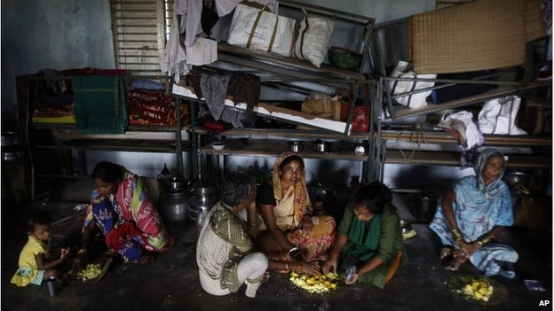 People sheltering from Cyclone Phailin near Bhubaneswar, 12 October 2013