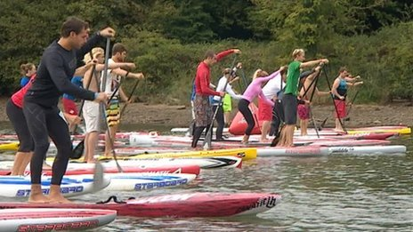 Paddleboard event in Kingsbridge Devon