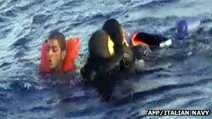 Italian Navy video grab of survivors being rescued. 12 Oct 2013