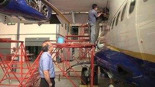 Birendra Bahadur Basnet overseeing plane maintenance