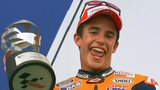 Marc Marquez celebrates his second place in Sepang that leaves him 43 points clear in the MotoGP series