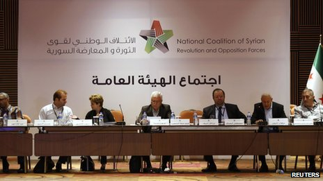 George Sabra, a veteran Christian opposition figure and acting President of the Syrian National Coalition, (C) chairs a meeting in Istanbul on 4 July 2013.