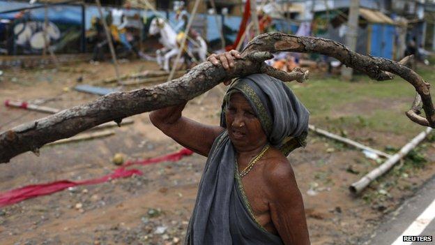 A woman carries a tree branch in Gopalpur