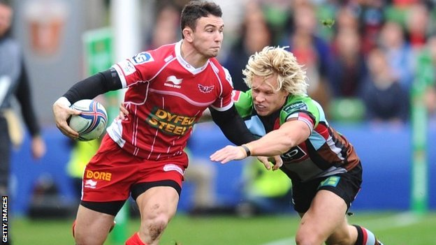 Kristian Phillips of Scarlets and Matt Hopper of Harlequins