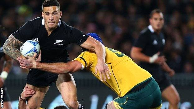 Sonny Bill Williams playing for the All Blacks against Australia