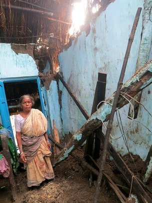 Lakhmi Behra in her damaged home