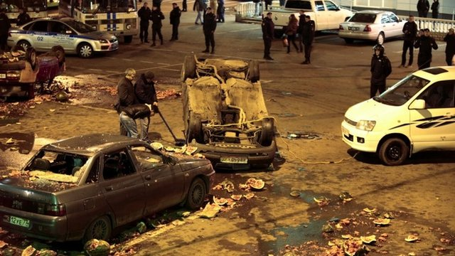 Damaged cars after a protest in Moscow