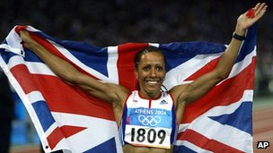 Kelly Holmes celebrating victory at the 2004 Athens Olympics