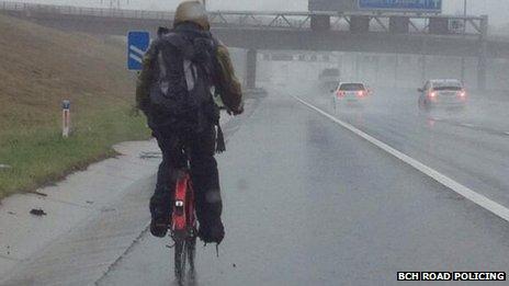 Cyclist on M1