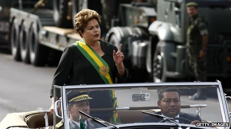 President Dilma Rousseff at an independence day parade on 7 September 2013