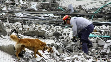 A rescuer and his sniffer dog search for survivors amid the debris of an apartment building that collapsed in Medellin on 13 October, 2013.