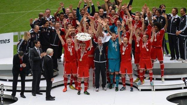 Bayern Munich celebrate winning Bundesliga title