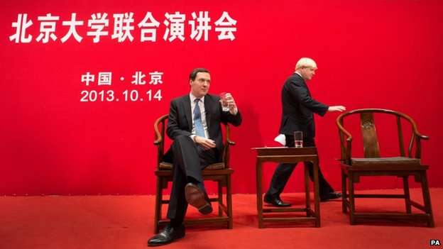George Osborne and Boris Johnson speaking at Peking University in Beijing