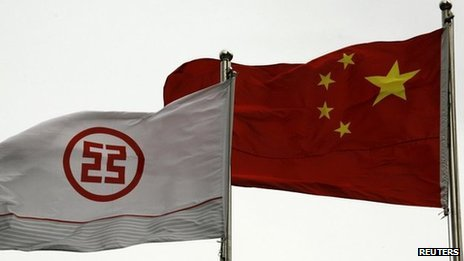 ICBC and Chinese flags