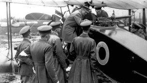 Brigade staff inspecting plane