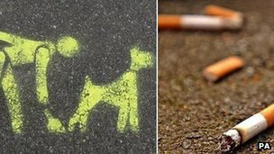 (left) A stencil on the pavement asking you to clean up after your dog, (right) cigarette butts
