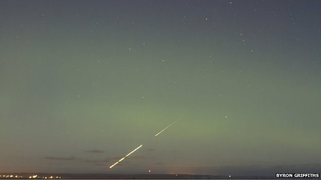 Fireball meteor and aurora over Lewis
