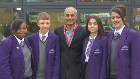 George Alagiah posing with School Reporters