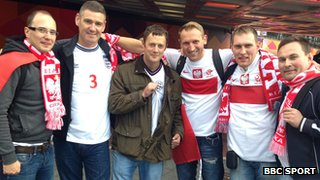 England and Poland football fans