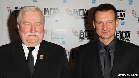 """Lech Walesa and actor Robert Wieckiewicz attend a screening of """"Walesa Man Of Hope"""" during the 57th BFI London Film Festival at Odeon West End on October 11,"""