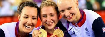 (l-r) Dani King, Laura Trott and Jo Rowsell celebrate winning Olympic gold at London 2012