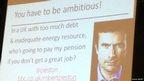 A slide during Robert Peston's presentation