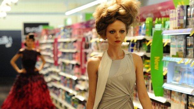 Model in supermarket