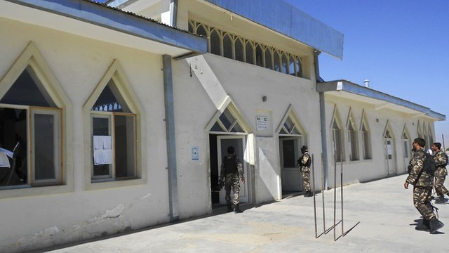 Afghan security forces outside the mosque in Logar province